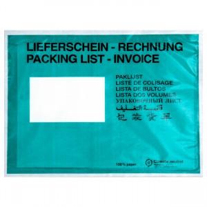 Lieferscheintaschen / Begleitpapiertaschen aus Papier / grün / DIN C5