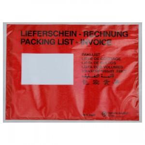 Lieferscheintaschen / Begleitpapiertaschen aus Papier / rot / DIN C5
