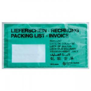 Lieferscheintaschen / Begleitpapiertaschen aus Papier / grün / DIN lang