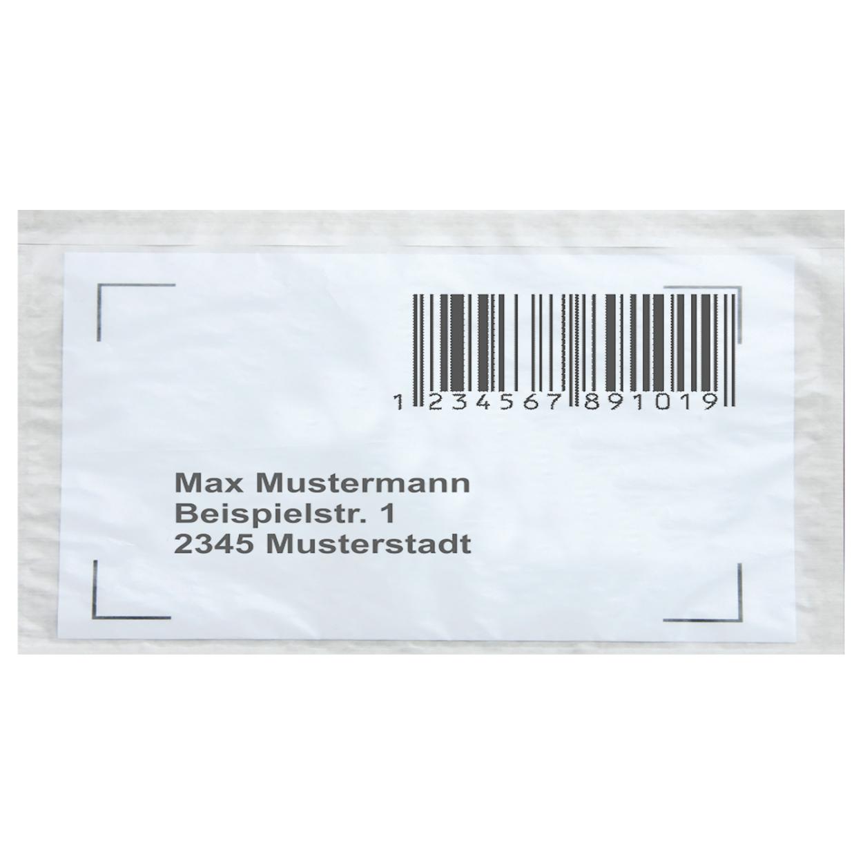Lieferscheintaschen / Begleitpapiertaschen aus Papier / farblos / DIN lang